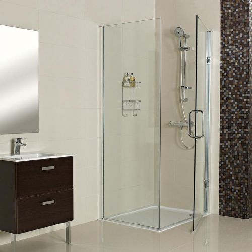Roman Decem Inline Panel For Side Panel - 1000mm Wide - 10mm Thick Glass - Silver